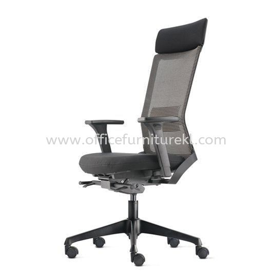 ROYSES HIGH BACK ERGONOMIC MESH CHAIR WITH ROCKET NYLON BASE AND NYLON ADJUSTABLE ARMREST ARC 8520N