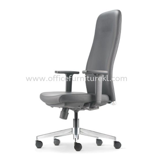ARONA EXECUTIVE HIGH BACK LEATHER CHAIR C/W ALUMINIUM DIE-CAST BASE AR-1L