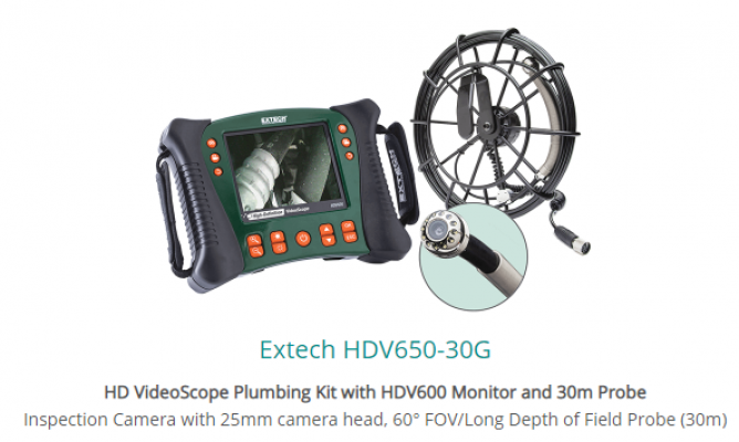 Extech HDV650-30G HD VideoScope Plumbing Kit with HDV600 Monitor and 30m Probe