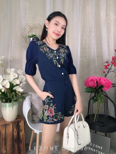 20092-T Embroiderd Front Button Top