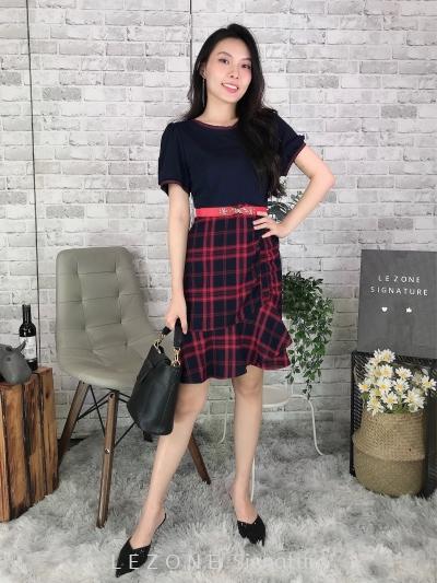 80556 Asymmetrical Hem Stitching Dress