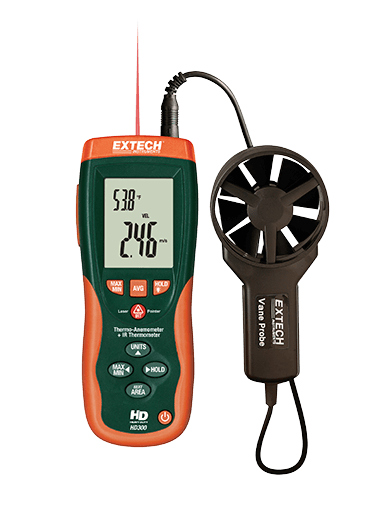 EXTECH HD300 : CFM/CMM Thermo-Anemometer with built-in Infrared Thermometer