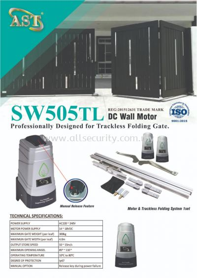SW505TL TRACKLESS FOLDING AUTOGATE SYSTEM