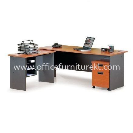 RECTANGULAR WRITING TABLE WOODEN BASE WITH SIDE TABLE & MOBILE PEDESTAL 1D1F GENERAL SET