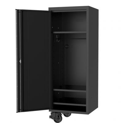 """SP TOOLS 27"""" USA SUMO SERIES SIDE CABINET - 3 FIXED SHELVES & CLOTHES HANG RAIL - BLACK/CHROME SP44885"""