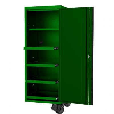 """SP TOOLS 27"""" USA SUMO SERIES SIDE CABINET - 4 ROLLER SHELVES & 1 FIXED SHELF - GREEN/BLACK SP44880G"""