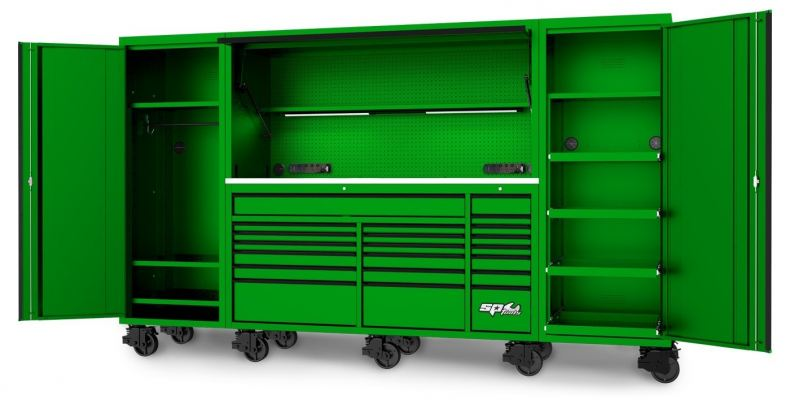 """SP TOOLS 128"""" USA SUMO SERIES COMPLETE WORKSTATION - GREEN/BLACK SP44890G"""