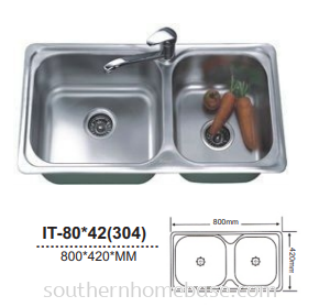 ITTO 2 BOWL KITCHEN SINK IT-80*42(304)