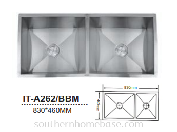 ITTO STAINLESS STEEL 2 BOWL KITCHEN SINK IT-A262/BBM