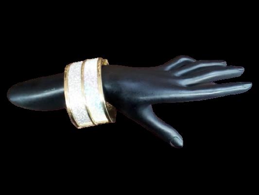 Women's designer cuff bracelet bangle with glitter work.
