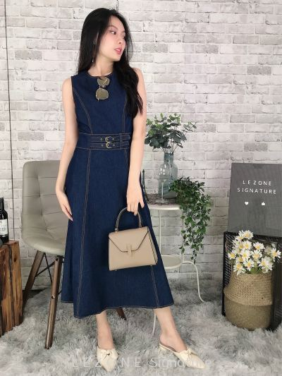 831410 Denim Belted Sleeveless Dress