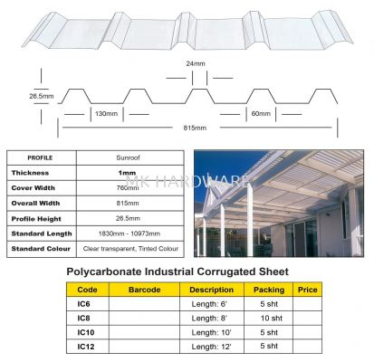 POLYCARBONATE INDUSTRIAL CORRUGATED SHEET