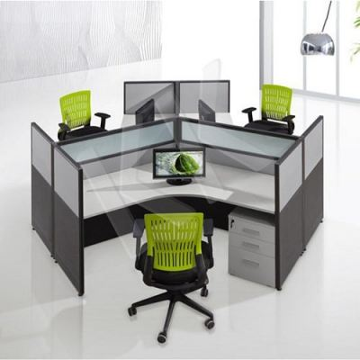 3 Seater Fabric Partition Office Workstation Type 2