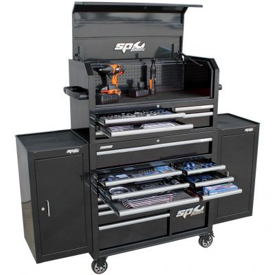 SP TOOLS SUMO SERIES POWER HUTCH TOOL KIT WITH DUAL SIDE CABINETS - 527PC - METRIC/SAE SP50558