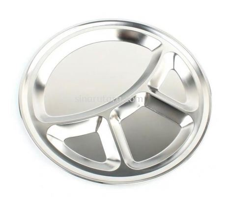 XZP 35CM S/S ROUND COMPARTMENT TRAY (3+1)