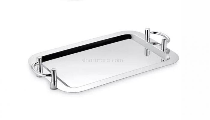"""FXJP018 18""""(475*322)S/S RECT SHAPE MIRROR TRAY(SILVER HANDLE)"""