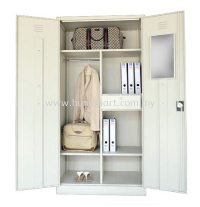 A198 FULL HIGH STEEL WADROBE SWINGING DOOR WITH 1 HANGING BAR, 3 FIXED SHELVE, 1 DRAWER & MIRROR