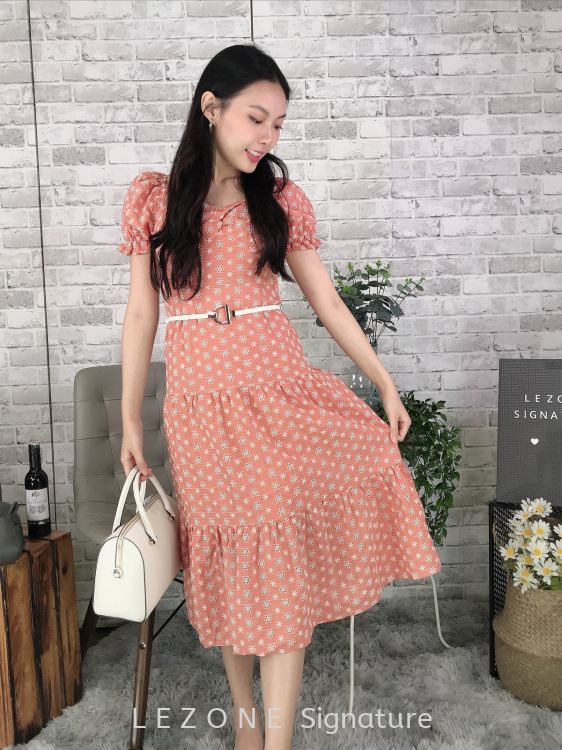 11315 Laced Puff Sleeved Midi Dress【Value Buy】