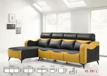 Super Leather L Shape Sofa Online -Fabrics and Super Leather Black and Yellow