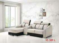 Super Leather L SHAPE SOFA with Cup Holder Arm Rest