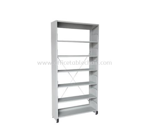 A316 LIBRARY SHELVING SINGLE SIDED WITH SIDE PANEL AND 6 SHELVING