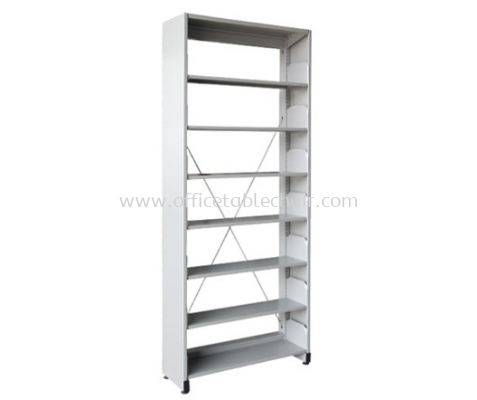 A317 LIBRARY SHELVING SINGLE SIDED WITH SIDE PANEL AND 7 SHELVING