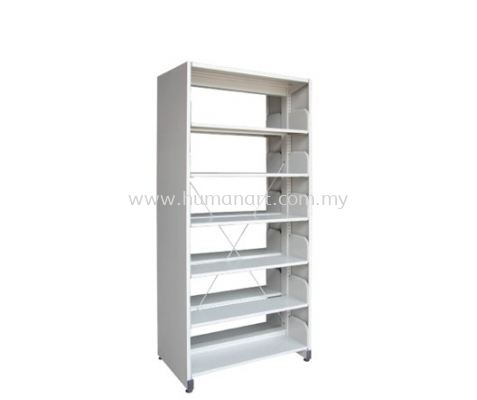 A326 LIBRARY SHELVING DOUBLE SIDED WITH SIDE PANEL AND 6 SHELVING