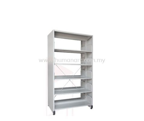 A325 LIBRARY SHELVING DOUBLE SIDED WITH SIDE PANEL AND 5 SHELVING