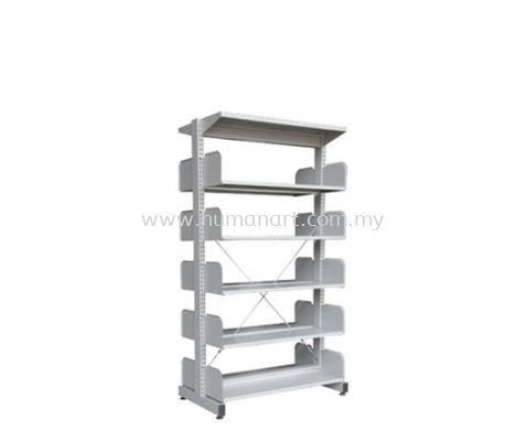 LIBRARY SHELVING DOUBLE SIDED WITHOUT SIDE PANEL AND 5 SHELVING