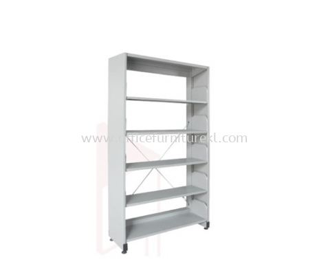 A315 LIBRARY SHELVING SINGLE SIDED WITH SIDE PANEL AND 5 SHELVING