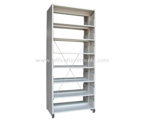 A327 LIBRARY SHELVING DOUBLE SIDED WITH SIDE PANEL AND 7 SHELVING