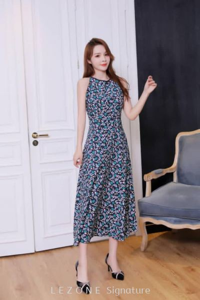 BD6563 Round Neck Floral Midi Dress