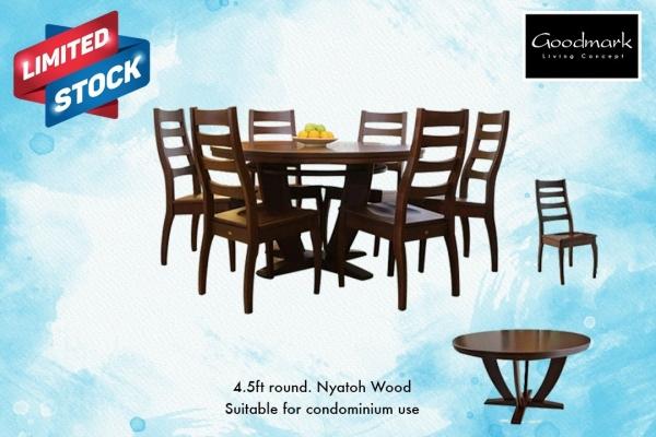 4.5ft Round Nyatoh wood