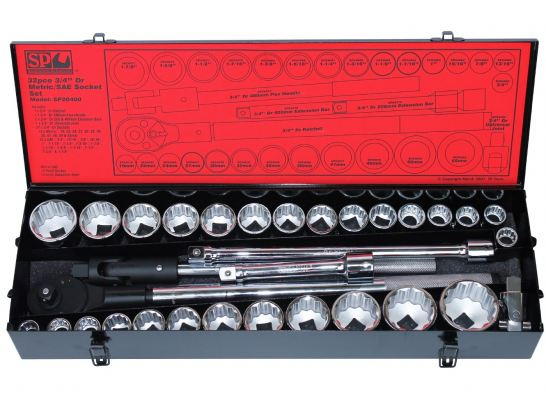 "SP TOOLS 3/4""DR SOCKET SET - 12PT METRIC/SAE - 32PC SP20400"