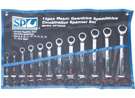 SP TOOLS SPEED DRIVE GEAR SPANNER SET - 0�� OFFSET - METRIC - 12PC SP10222
