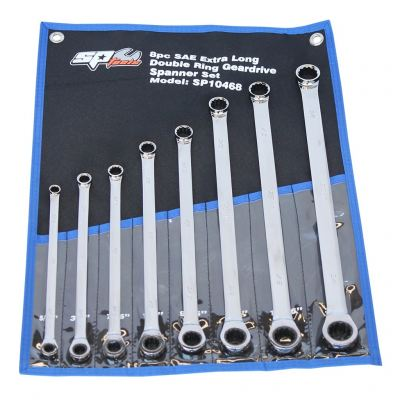 SP TOOLS DOUBLE RING GEAR DRIVE SPANNER SET - EXTRA LONG - 0�� OFFSET - SAE - 8PC SP10468