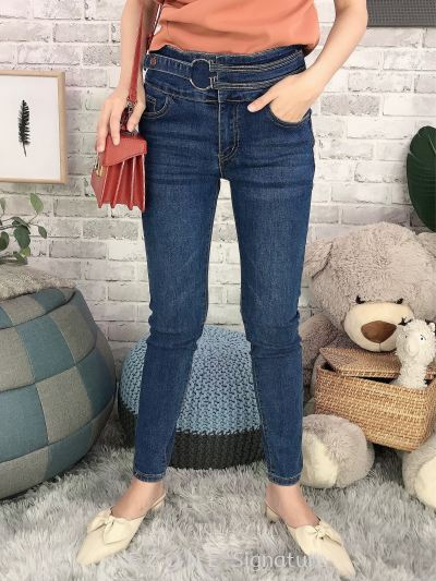 92283 Denim Waist Details Long Pant