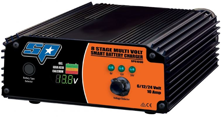 SP TOOLS 8 STAGE 10 AMP MULTI VOLT SMART BATTERY CHARGER SP61090