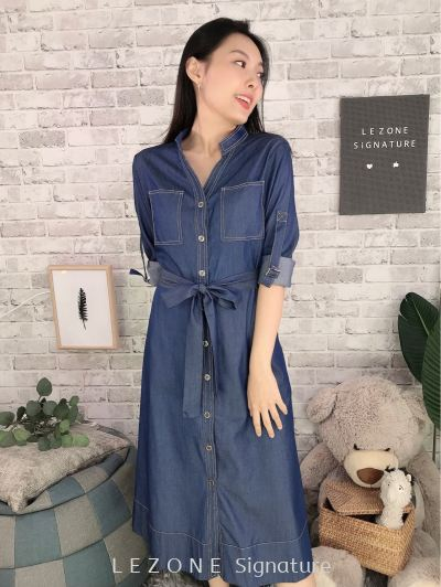5634 Denim Belted Midi Dress