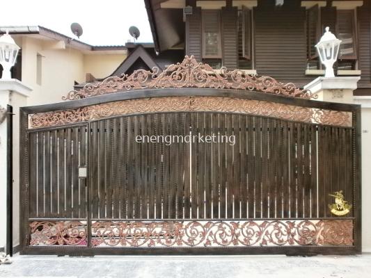 WIG 01-Wrought Iron Combination Cast Aloy Sliding Gate