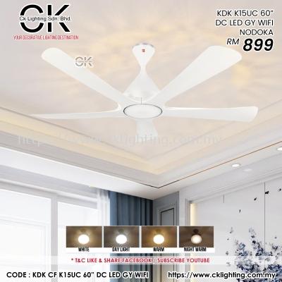 """CK LIGHTING CEILING FAN KDK K15UC 60"""" DC LED GY WIFI NOKODA (KDK K15UC LED)"""