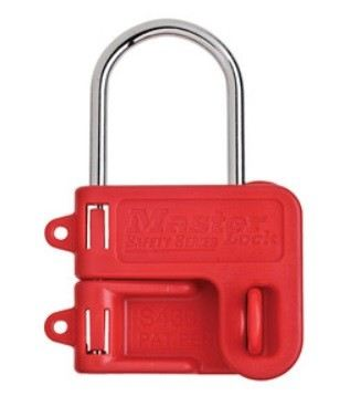 S430 Steel Hasp with Red Plastic Handle, 1n (25mm) Jaw Clearance Business & Industry  Master Lock
