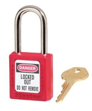 410RED Red Zenex™ Thermoplastic Safety Padlock, 1-1/2in (38mm) Wide with 1-1/2in (38mm) Tall Shackle Business & Industry  Master Lock