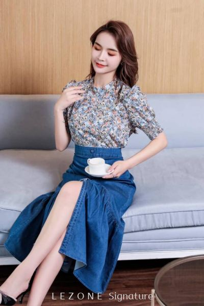 BB6702 Puff Sleeved Floral Top