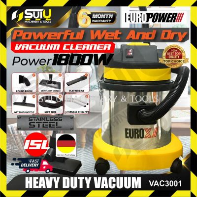 EuroX / EuroPower VAC3001 Commercial Wet & Dry Stainless Steel Vacuum Cleaner 15Litre 1.8kW