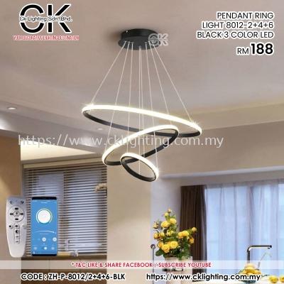CK LIGHTING PENDANT RING LIGHT 8012/2+4+6 BLACK 3 COLOR LED (ZH-P-8012/2+4+6-BLACK)