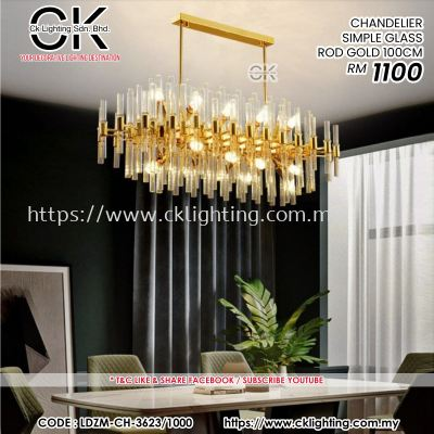 CK LIGHTING CHANDELIER SIMPLE GLASS ROD GOLD 100 CM (LDZM-CH-3623/1000)