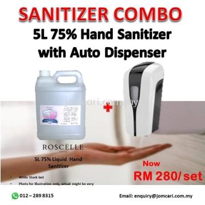 Sanitizer Combo - 5L Roscelle 75% Liquid Hand Sanitizer with Auto Dispenser
