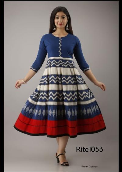 HANDLOOM WOVEN IKAT COTTON LONG DRESS (KURTI).