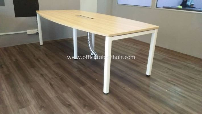 DELIVERY & INSTALLATION SBB24 BOAT SHAPE MEETING TABLE WITH WIRE SNAKE OFFICE FURNITURE SUBANG JAYA, SELANGOR
